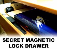 Today I will show you how to make a secret drawer below your table surface with the use of a hidden magnetic lock. The drawer is barely visible from. Hidden Gun Storage, Secret Storage, Diy Storage, Hidden Shelf, Hidden Doors, Storage Ideas, Woodworking Plans Porch Swing, Woodworking Projects, Wood Projects