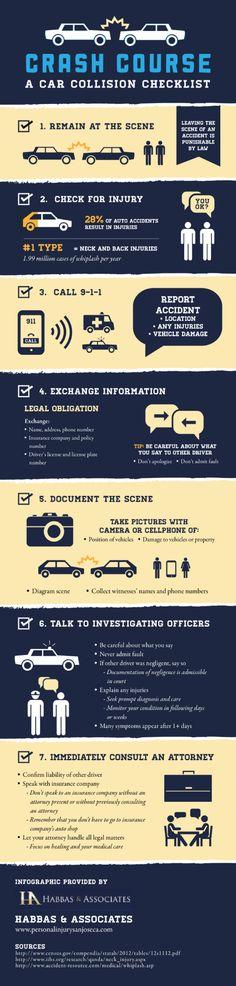 Crash Course: A Car Collision Checklist #infographic