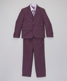 This Plum & Purple Five-Piece Suit Set - Toddler & Boys is perfect! #zulilyfinds
