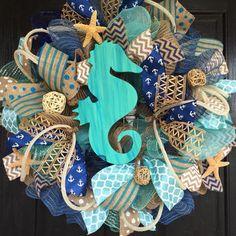 Seashell decor seahorse wreath with shells_beach wreath_beach ...