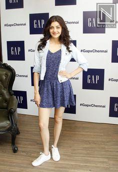#KajalAgarwal looked pretty in a navy little dress teamed with a #denim #jacket