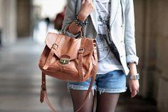 caramel leather handbag
