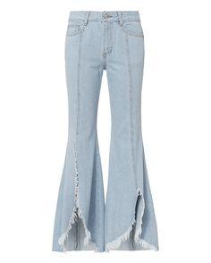 Frayed Hem Jeans, Blue Denim Jeans, Cropped Jeans, Faux Leather Jeans, Flare Leg Jeans, Korean Fashion Trends, Minimalist Fashion, Legs, Clothes