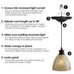 Worth Home Products Instant Pendant Series 1-Light Brushed Bronze Recessed Light Conversion Kit-PBN-6032 - The Home Depot