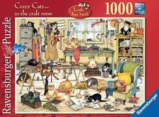 RAVENSBURGER JIGSAW PUZZLE CRAZY CATS IN THE CRAFT ROOM LINDA JANE SMTIH 1000