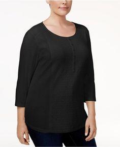 Karen Scott Plus Size Cotton Lace-Front Henley Top, Created for Macy's