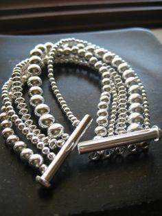 Sterling Silver Beaded Bracelet Silver by JewelryMadebyMaggie, $298.00