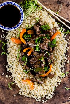 beef stir-fry with peppers + pea shoots   The Clever Carrot
