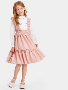 Girls Frill Trim Tiered Suspender Skirt -SHEIN(SHEINSIDE) The clothing culture is fairly old. Kids Outfits Girls, Little Girl Dresses, Girl Outfits, Girls Dresses, Cute Outfits, Flower Girl Dresses, Dresses Dresses, Dance Dresses, Girls Fashion Clothes