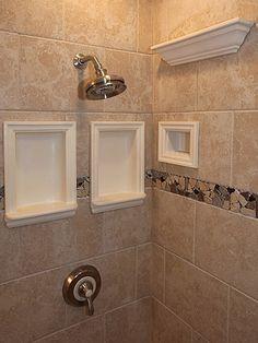 Bathroom Remodeling DIY Information Pictures Photos Ceramic Niches Shower Shelves Kitchen Manassas Design Shower Tile Ideas Va. Tile Shower Shelf, Recessed Shower Shelf, Small Bathroom Tiles, Shower Niche, Bathroom Tile Designs, Bathroom Ideas, Shower Ideas, Condo Bathroom, Shower Storage