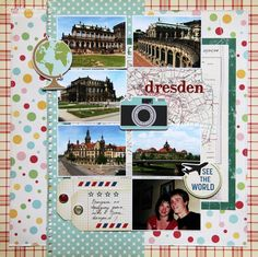 travel layout with lots of pics. Include maps/souvenirs behind pics