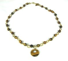 Kristy Lee Tiger Eye Bead Necklace Donut Hole by TheFashionDen
