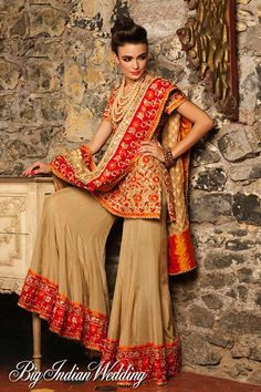 Latest Wedding Bridal Sharara Designs & Trends Collection consists of Top Pakistani & Indian Designer fancy embroidered sharara dresses! Indian Fashion Trends, India Fashion, Asian Fashion, Ethnic Fashion, Fashion Tips, Sharara Designs, Indian Bridal Wear, Indian Wear, Pakistani Bridal