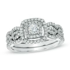 #2 CHOICE - Zales Previously Owned $934.50  5/8 Carat TW Diamond Double Frame Bridal Set in 10K White Gold