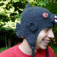 Monster Fish - Black Piranha Hat crochet pattern by Darleen Hopkins