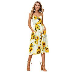 b6d6486cedcb5 Summer Dress  16.99 Womens Summer Casual Dress Floral Print Strap Button  Midi Bohemian Beach Dress with