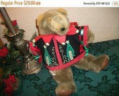 Teddy Bear Christmas Decoration Vintage 17 Brown Plush