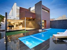 Swim spa pool design using glass with outdoor dining & decorative lighting - Pool photo 136055 Swimming Pool Plan, Swimming Pool Photos, Swimming Pools Backyard, Spa Design, Pool Spa, Design Your Dream House, House Design, Outdoor Spa, Outdoor Lighting