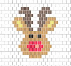 Rudolph pattern Christmas reindeer in brick stitch weaving Grille_diagramme_motif_Rudolphe_le_renne_de_Noel_tissage_brick_stitch Seed Bead Patterns, Peyote Patterns, Beading Patterns, Cross Stitch Patterns, Loom Patterns, Bracelet Patterns, Embroidery Patterns, Jewelry Patterns, Knitting Patterns