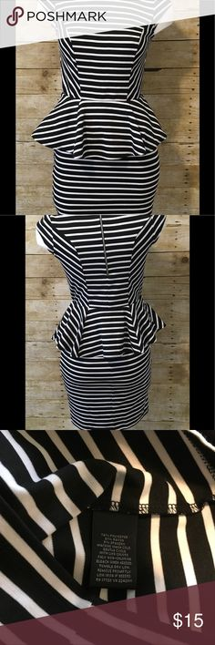 "Mossimo Striped Peplum Cap Sleeve  Dress Mossimo Striped Peplum Cap Sleeve Dress. Women's Size S. 74% Polyester, 21% Rayon, 5% Spandex.  Chest Measurements 16"". Mossimo Supply Co Dresses"