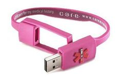 Care Usb Medical History Bracelet Pink