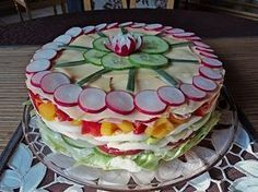 Party – Salattorte Party – salad cake (recipe with picture) of Paradiesabbel Party Salads, Snacks Für Party, Appetizers For Party, Appetizer Recipes, Snack Recipes, Shrimp Recipes, Keto Snacks, Food Cakes, Sandwich Torte