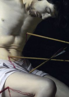 Detail of a painting of Sebastian by Gerrit van Honthorst, 1623.