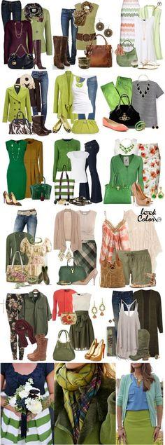 Сочетание теплого зеленого цвета в одежде Теплые зеленые тона сочетаются с синим, сливовым, коричневым, бежевым, коралловым, персиковым, абрикосовым, голубым, бежевым, различными желтыми и золотыми оттенками. К теплым тонам зеленого относится хаки, более подробно о сочетание хаки в одежде.