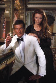 Kristina Wayborn and Roger Moore