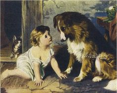 farm collies in art   Can'T You Talk Victorian Baby Collie Canvas Art Large   eBay