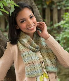 Cable and Lace Scarf Free Knitting Pattern in Red Heart Yarns