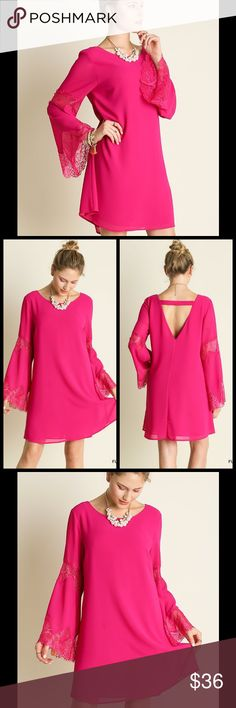 ELEGANT FUSCHIA LACE BELL SLEEVE DRESS Stunning Dress in a vibrant Fuschia. It features bell sleeves with lace, & a lovely v-neck back. It has 2 layers, so is not see through. The picture doesn't do this justice!  Great for a date night. Sizes S, M, L. Cotton/Polyester chiffon material. No trades. Price is firm. Dresses