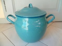 Vintage French Large Enamel Graniteware Confit Pot Marmite in French Blue | eBay