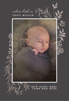 Botanical mood - Birth Announcement Card #announcements #printable #diy #template #birth #baby #birthannouncements