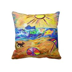 BEACH THEMED DESIGNER THROW PILLOWS - WHIMSICAL & COLORFUL - TO ADD CHEER AND PLAYFULLNESS TO A ROOM OR HOME. Beach flavored home fashion.