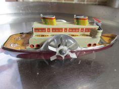 VIDEO Rare Gescha pre-war paddle boat clockwork liner bing germany raddampfer
