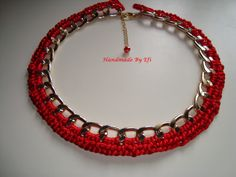 necklace with chain and red silk cord  https://www.facebook.com/pages/Handmade-Creations-by-Efi/187659788043676