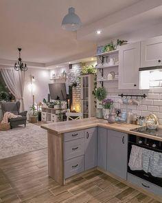Kitchen Interior, Kitchen Decor, Farmhouse Kitchen Inspiration, Log Home Kitchens, Farmhouse Kitchens, Wooden Sofa Set Designs, Small Home Offices, Small Kitchen Layouts, Style Deco
