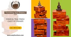 """Furnishing Your Dreams.""  COMICAL TEAK FINISH  CHEST OF DRAWER Product URL: https://www.omyfurniture.com/comical-teak-finish-chest-of-drawer-omf-cd-1008  Comical teak finish chest of drawer is made by Sheesham (Rose wood)  with a teak finish. It is four drawer chest of drawer in the teak finish.  #furniture #cabinet #diningtable"