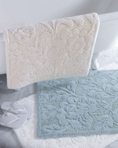 white and pale blue damask print thick towel bath mats.  [original pin: towel bath mats]
