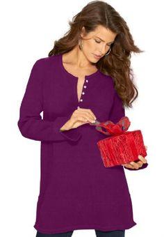 Roamans Women's Plus Size Thermal Henley Tunic