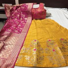 Embroidered Classic Banarasi silk brocade Yellow color Lehenga with Pink Blouse and dupatta for women Lehnga Blouse, Brocade Lehenga, Banarasi Lehenga, Lehnga Dress, Silk Dupatta, Sharara, Brocade Fabric, Anarkali, Party Wear Indian Dresses