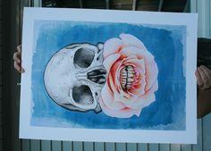 New Limited Edition Print by Jeff Proctor - via von scaramouche   skull flower rose teeth