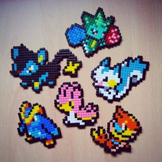Pokemon (Luxio, Shellos, Roselia, Prinlup, Pachirisu and Floatzel) hama beads by misa_ibanez
