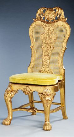 An exceptional set of six Roman large-scale giltwood dining chairs in the English taste, ca 1760.