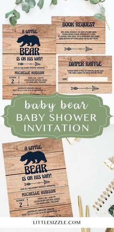 Winter baby shower invitation template for boy by LittleSizzle. A little bear is on his way! Celebrate with these adventures boy baby shower invites. A new adventure for the new parents that needs to be celebrated! This rustic baby shower invitation with light wood background will fit your bear themed baby shower perfectly! Simply download, personalize and print in just minutes. Boy baby shower invites for a winter themed baby shower. #babyshowerinvitations #babyshowerideas #boybabyshower…