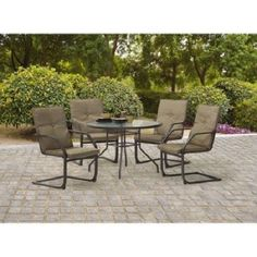 5 Piece Patio Dining Set Durable Steel Powder Coated Frame Garden Furniture New #PatioDiningSet