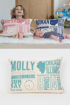 announcement pillow Birth announcement pillows not only celebrate a new baby but also show how big your little one has grown!Birth announcement pillows not only celebrate a new baby but also show how big your little one has grown! Shower Bebe, Baby Shower, Baby Kind, Our Baby, Baby Boys, My Bebe, Little Doll, Everything Baby, Baby Sleep