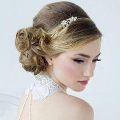 Vintage styled floral bridal headband