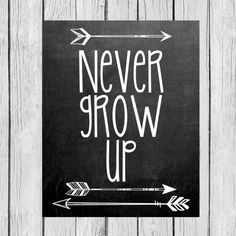Chalkboard  Never Grow Up  Tribal/Aztec Arrow by LoveandPrint